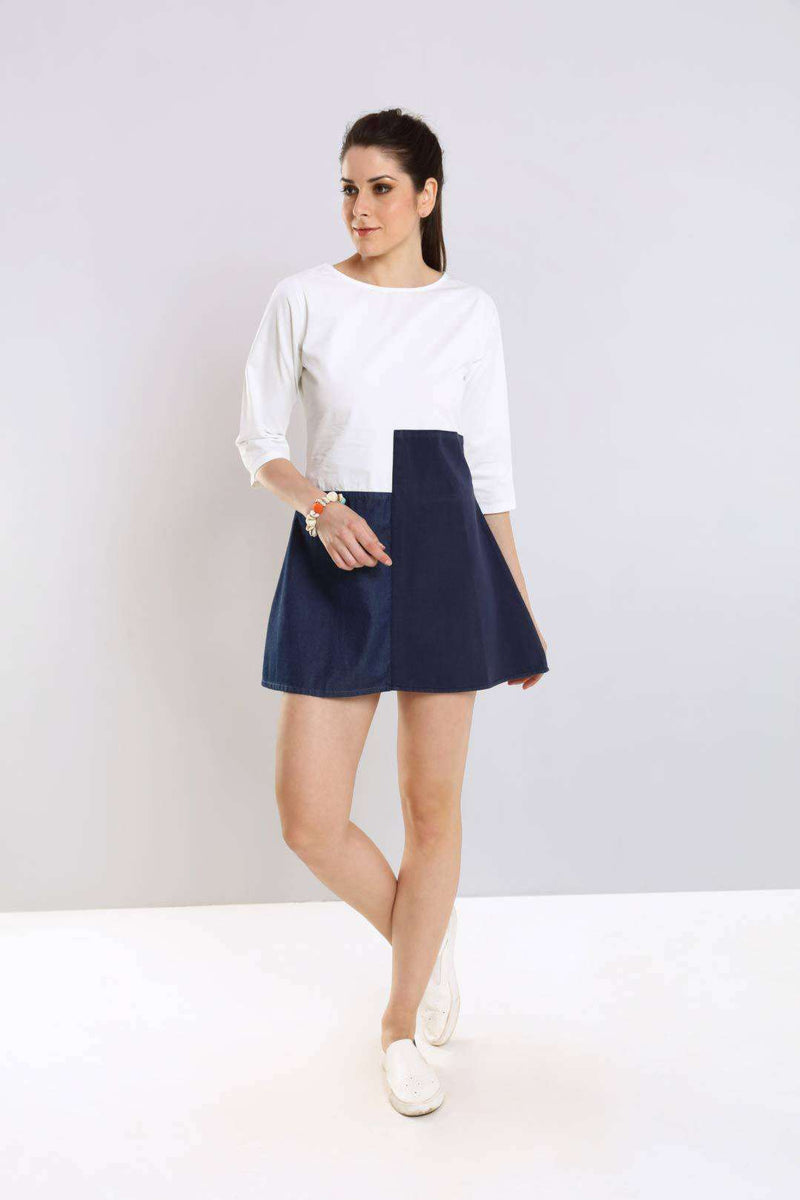 White-Blue patched denim flared dress