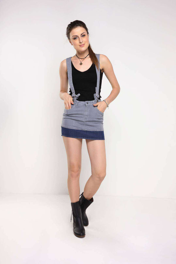 Grey-Blue paneled denim skirt dungaree - FREAKINS