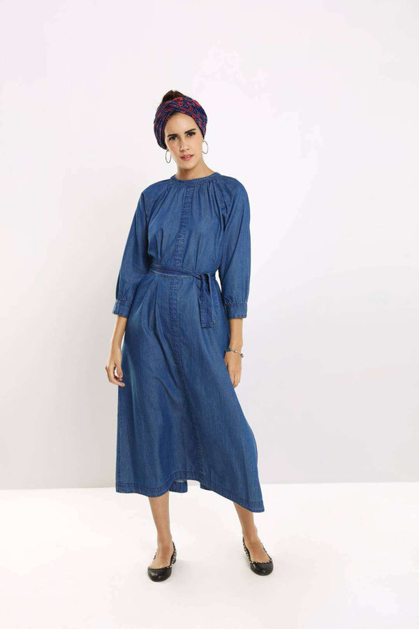 Dark Blue denim belt tie ankle length maxi dress - FREAKINS