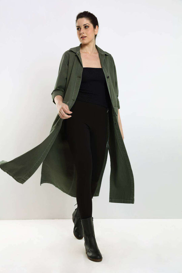 Olive denim over coat