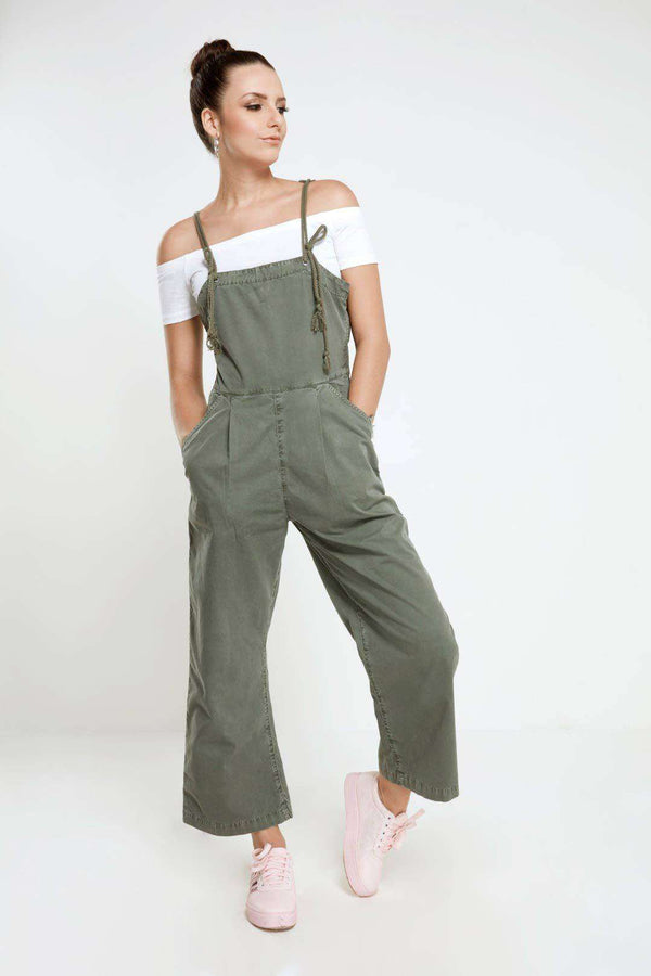Strappy dungaree in olive