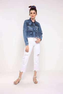 Mid blue long sleeve paneled denim jacket
