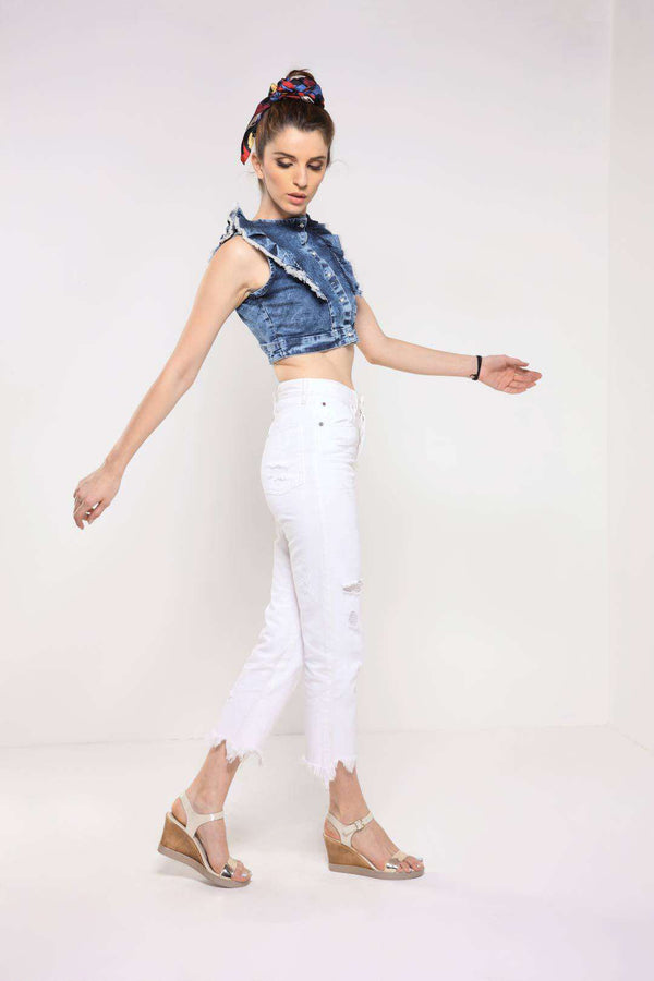 Dark Blue sleeveless frilled denim crop top - FREAKINS