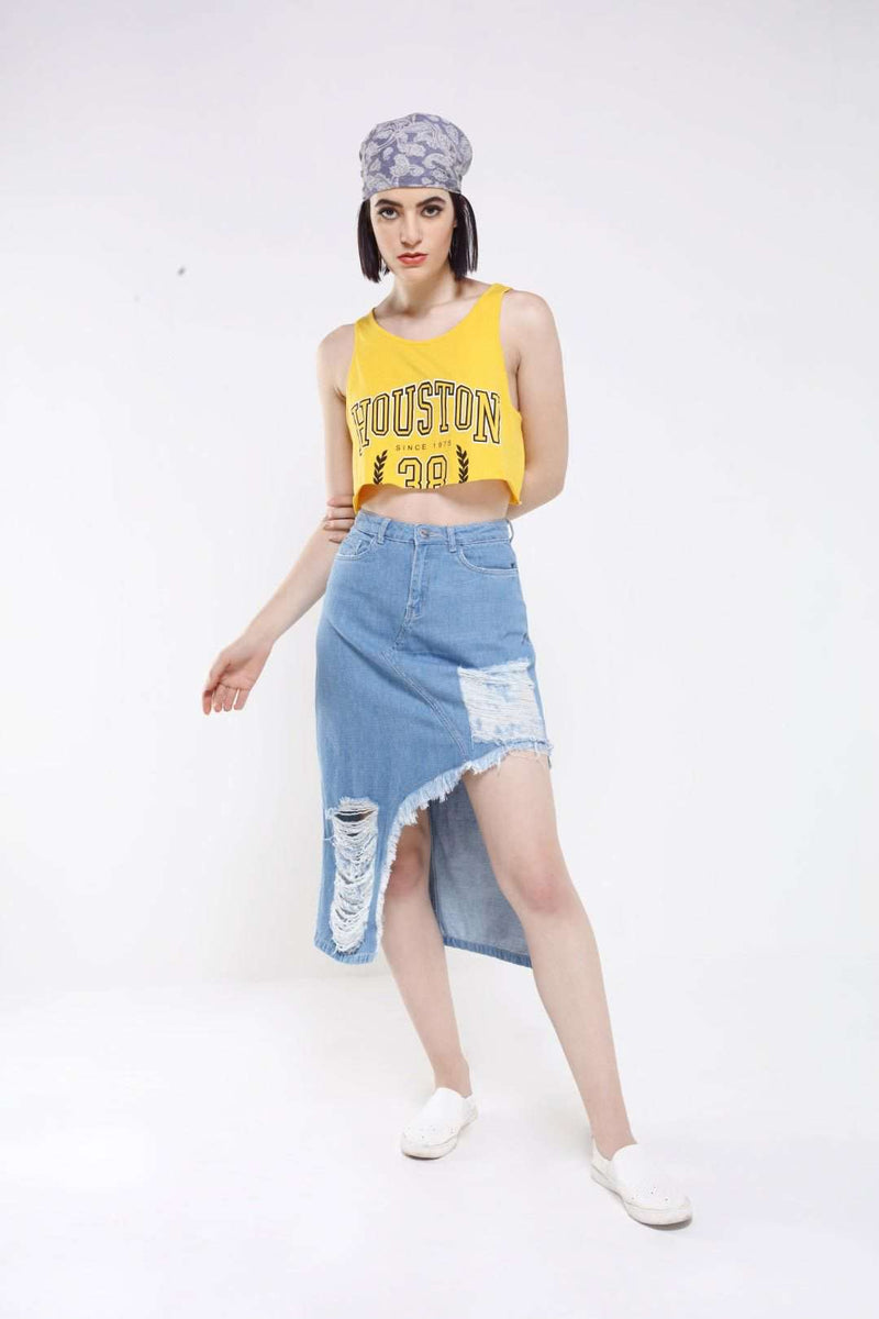 Light Blue Denim Distressed Skirt