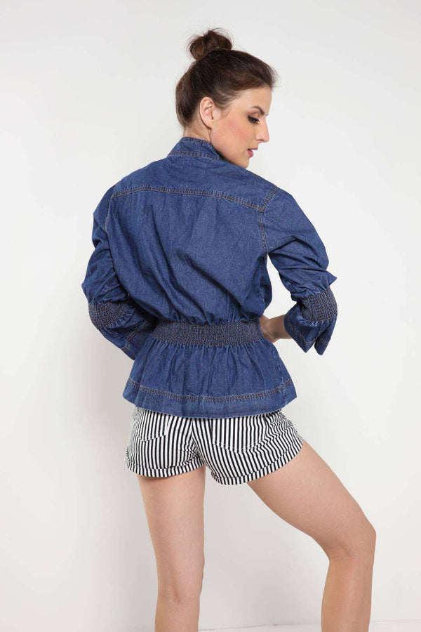 Mid Blue Bell Sleeve Elasticated Waistband Denim Tunic - FREAKINS