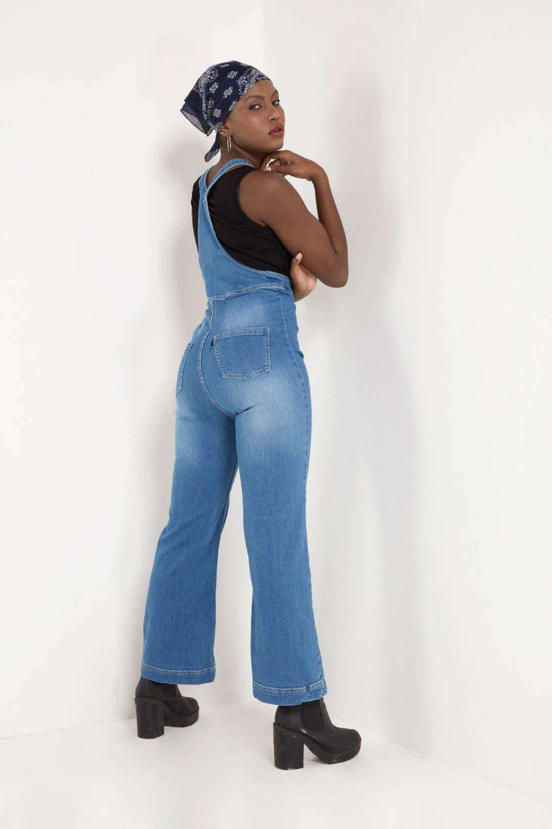 STM  light blue Boot Cut Denim dungaree