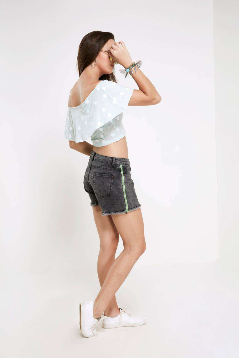 Grey Low rise frayed hem denim hot shorts