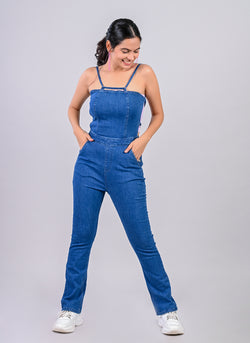 MID BLUE STRAPPY DENIM JUMPSUIT