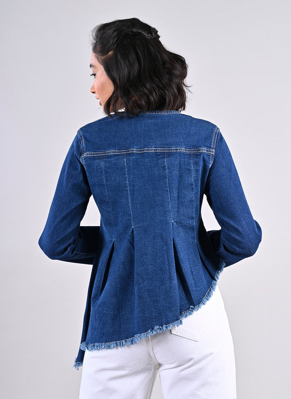 MID BLUE ASYMMETRICAL JACKET