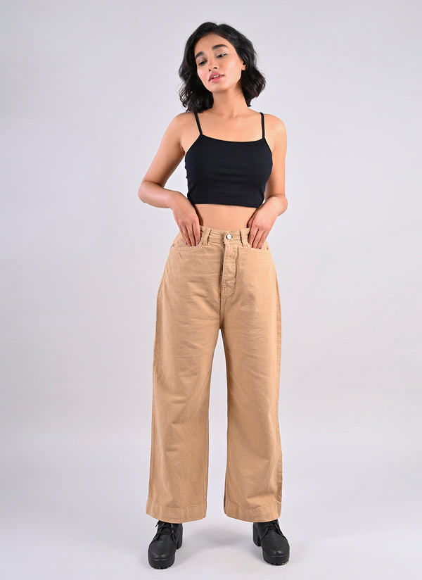 BEIGE STRAIGHT FIT PANTS