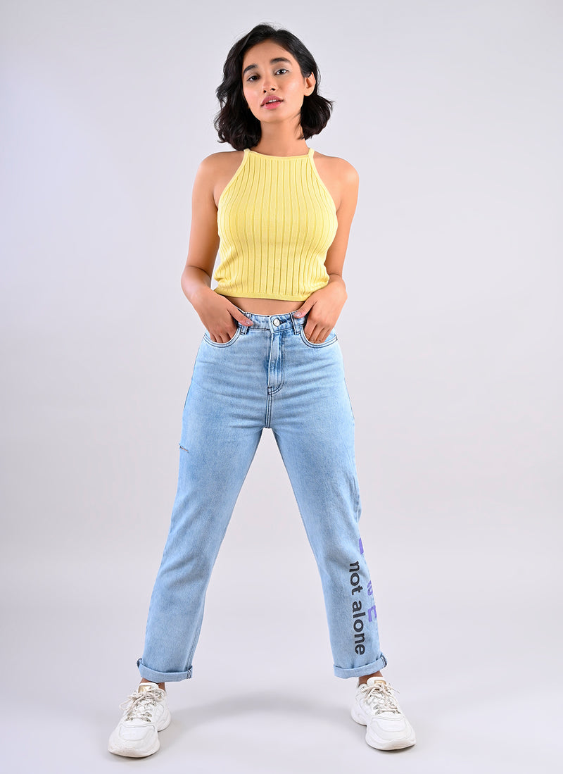 MOM FIT JEANS WITH SIDE SLIT