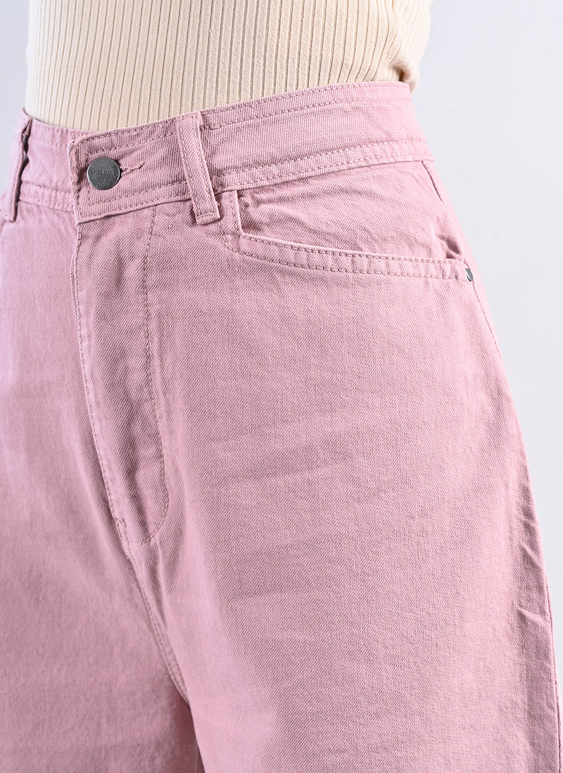 DUSTY PINK STRAIGHT FIT PANTS