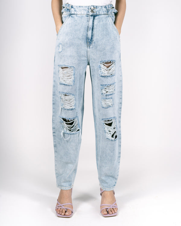 ICE WASH RIPPED BAGGY JEANS