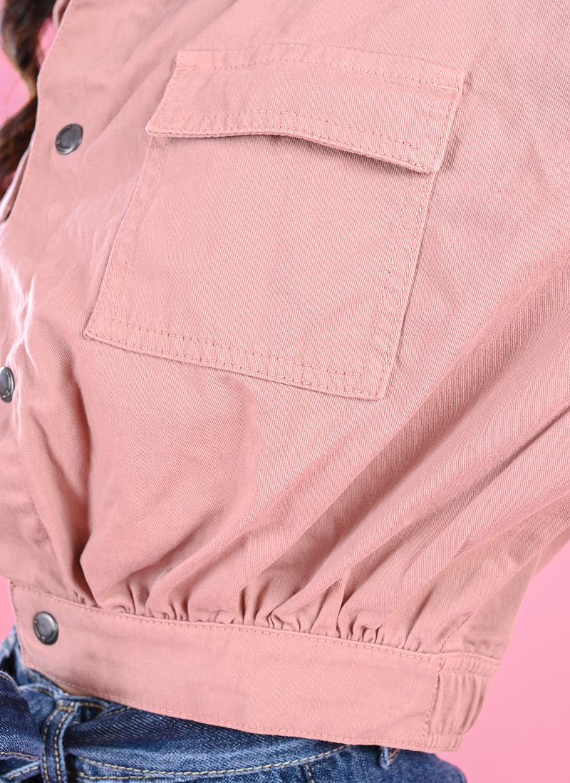 DUSTY PINK CROPPED SHIRT
