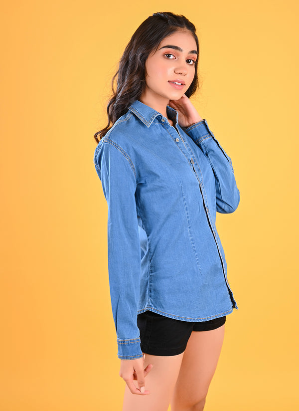 FITTED DENIM SHIRT WITH ELASTICATED BACK
