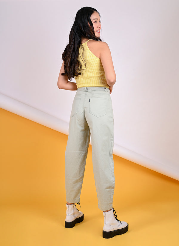 PLEATED BAGGY PANTS WITH BELT IN POWDER GREEN