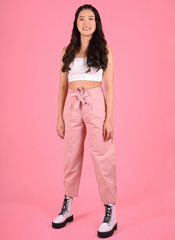 PLEATED BAGGY PANTS WITH BELT IN PEACH