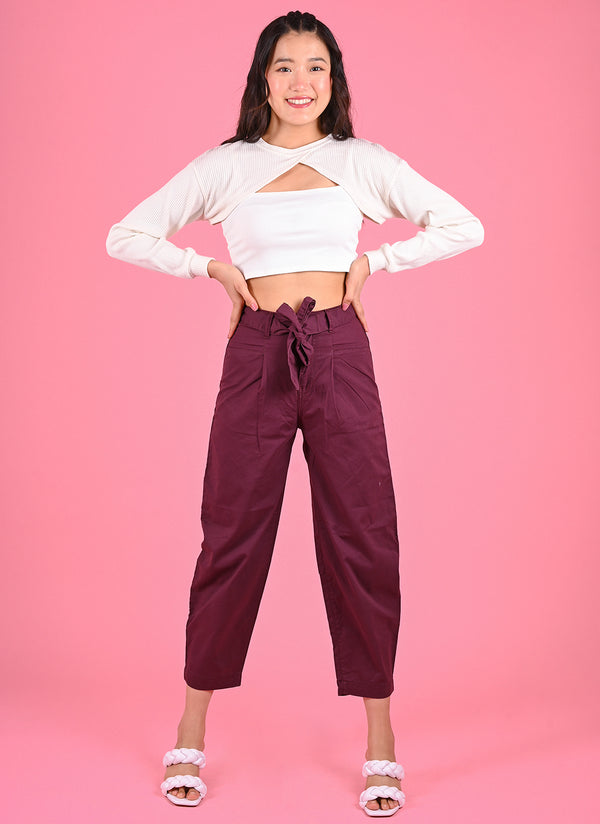 PLEATED BAGGY PANTS WITH BELT IN WINE
