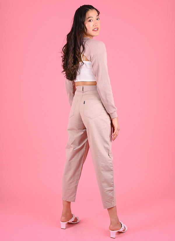 PLEATED BAGGY PANTS WITH BELT IN DUSTY PINK