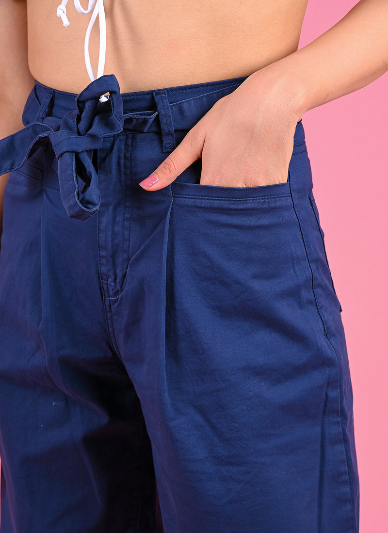 PLEATED BAGGY PANTS WITH BELT IN ROYAL BLUE