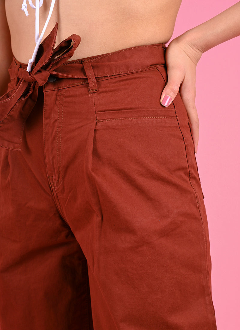 PLEATED BAGGY PANTS WITH BELT IN RUST