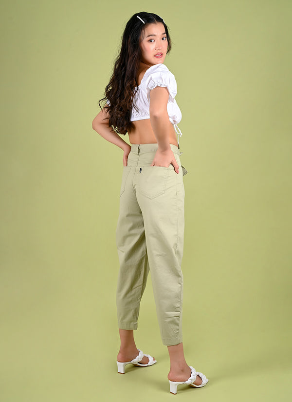 PLEATED BAGGY PANTS WITH BELT IN MINT GREEN