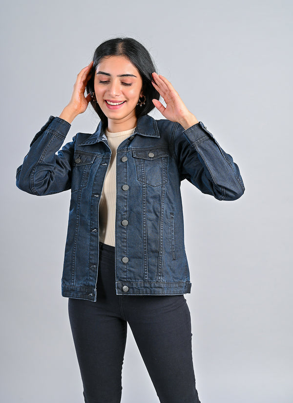 COATED BASIC DENIM JACKET