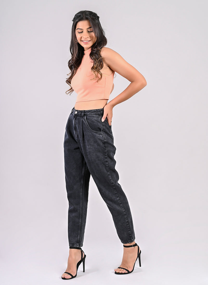 VINTAGE BLACK PLEATED SLOUCHY JEANS