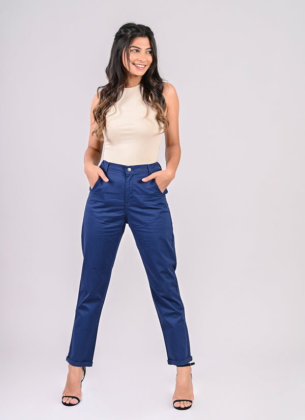 ELASTICATED MOM PANTS IN ROYAL BLUE