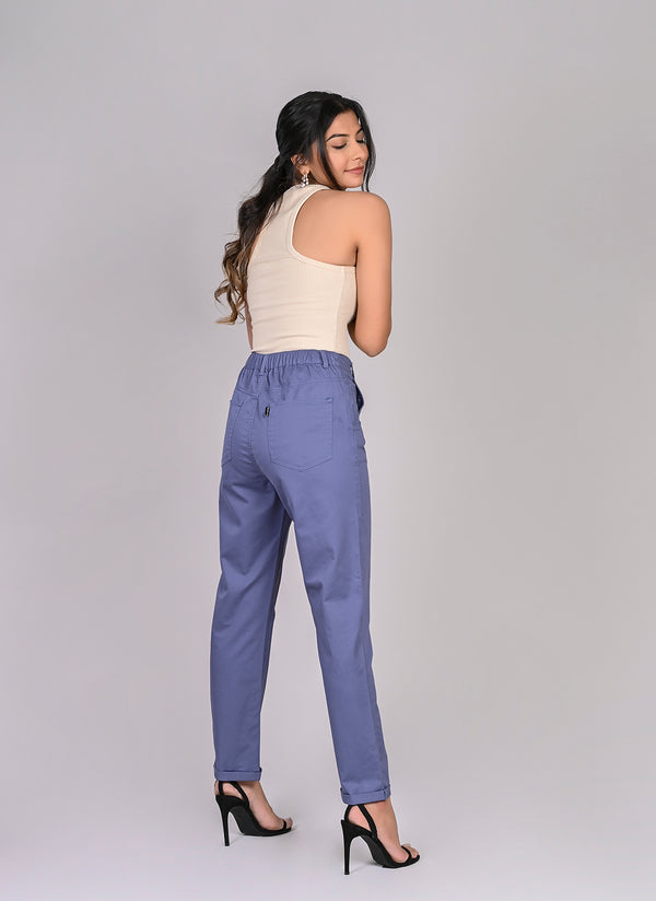 ELASTICATED MOM PANTS IN SAPPHIRE BLUE