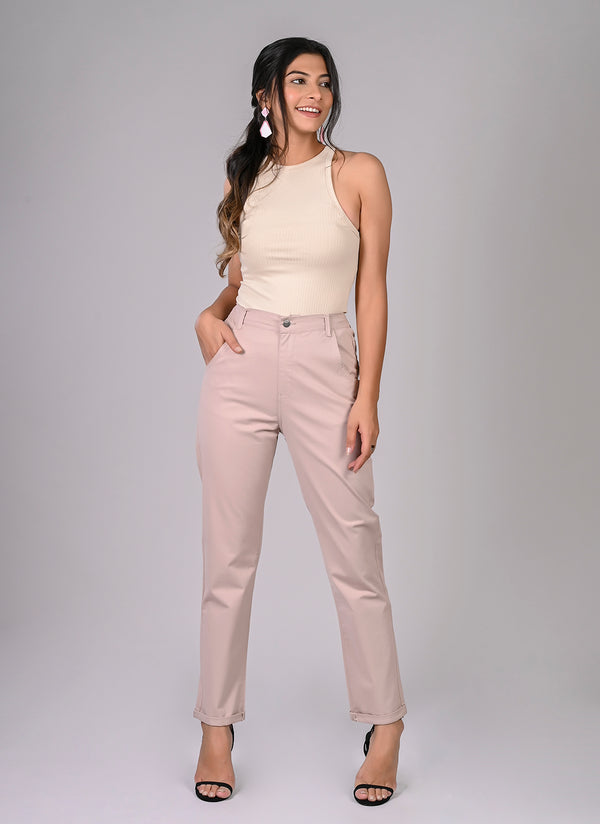 ELASTICATED MOM PANTS IN DUSTY PINK