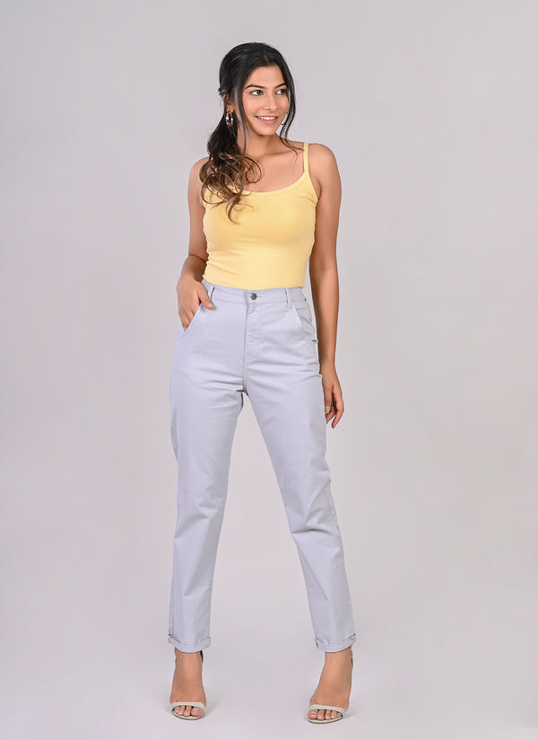 ELASTICATED MOM PANTS IN GREY BLUE