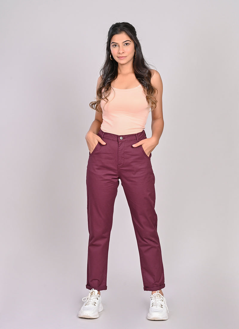 ELASTICATED MOM PANTS IN WINE