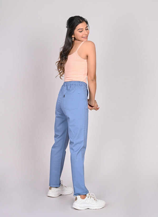 ELASTICATED MOM PANTS IN COBALT BLUE