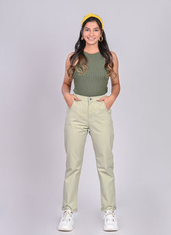 ELASTICATED MOM PANTS IN MINT GREEN