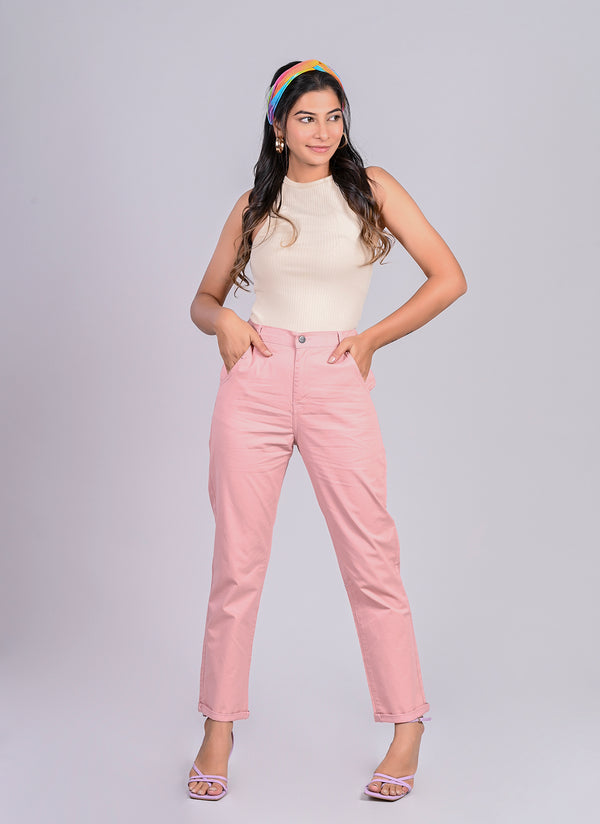 ELASTICATED MOM PANTS IN PEACH
