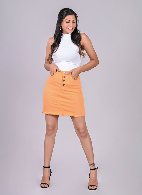 NEON ORANGE PENCIL SKIRT