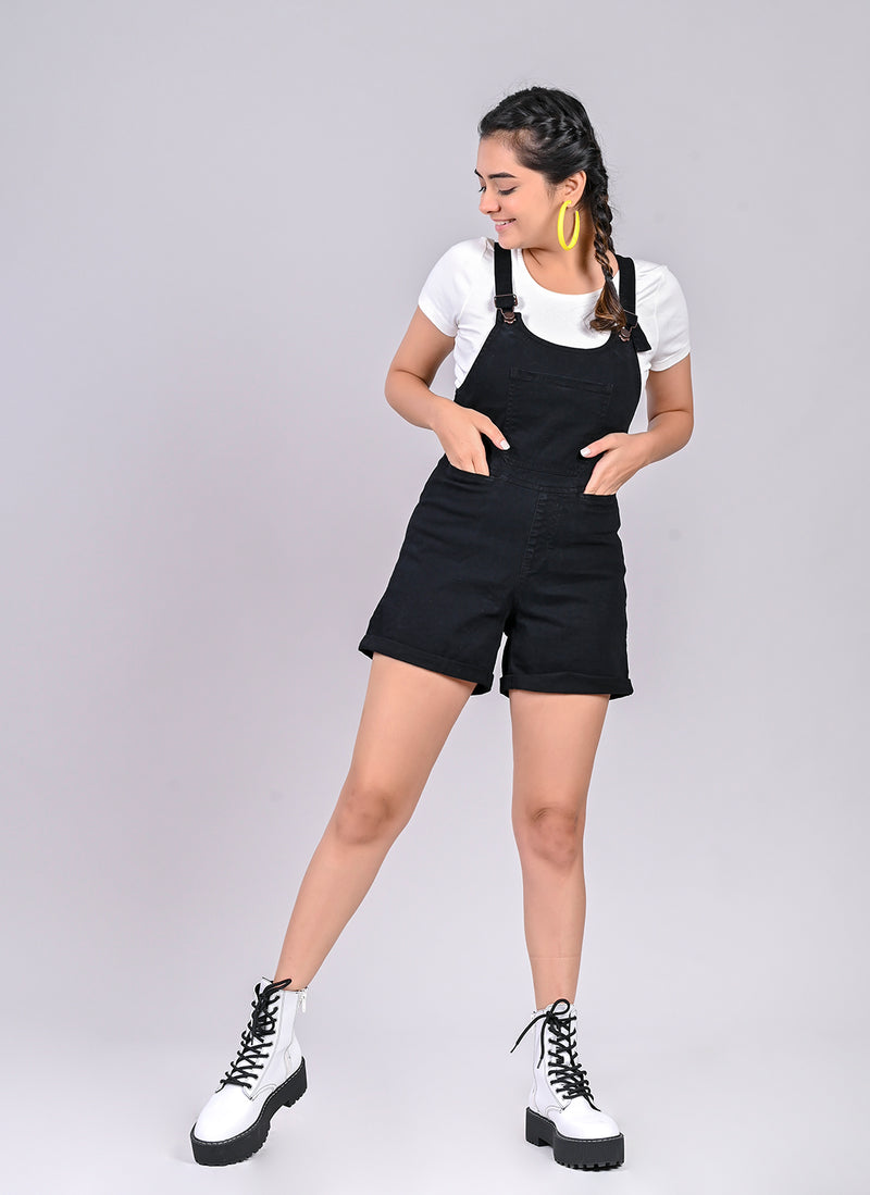 Black shorts dungaree