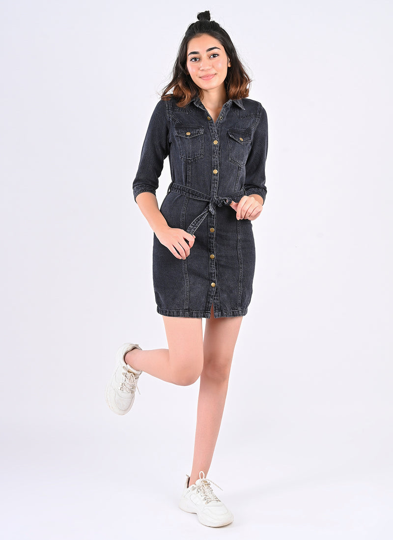 BLACK BELTED DENIM DRESS