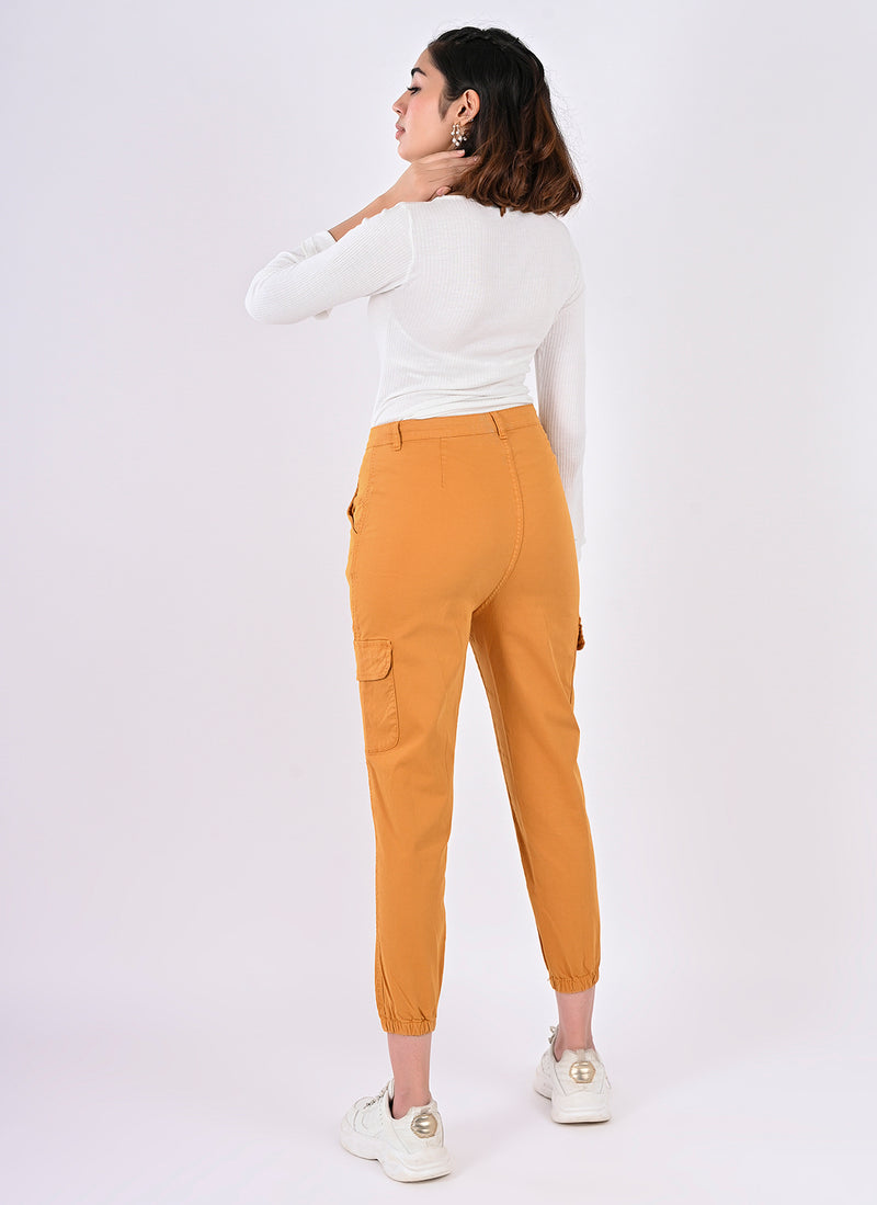 Utility cargo joggers in mustard