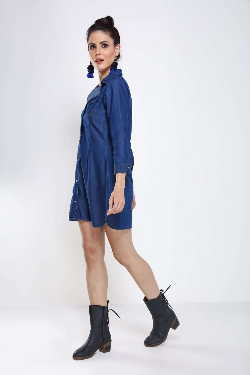 Dark Blue Denim flared dress - FREAKINS