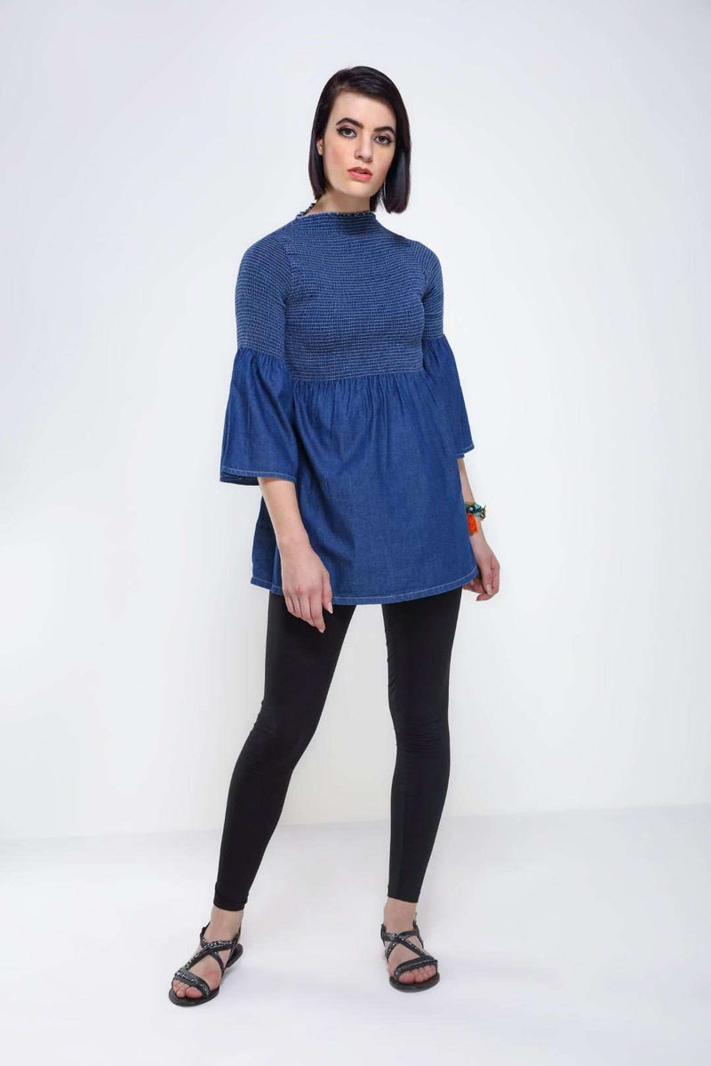 Dark Blue Denim flared top - FREAKINS