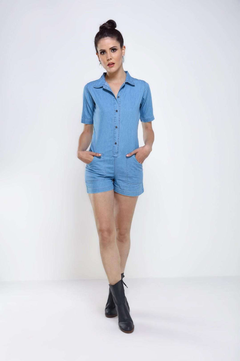 Light Blue denim short jumpsuit - FREAKINS