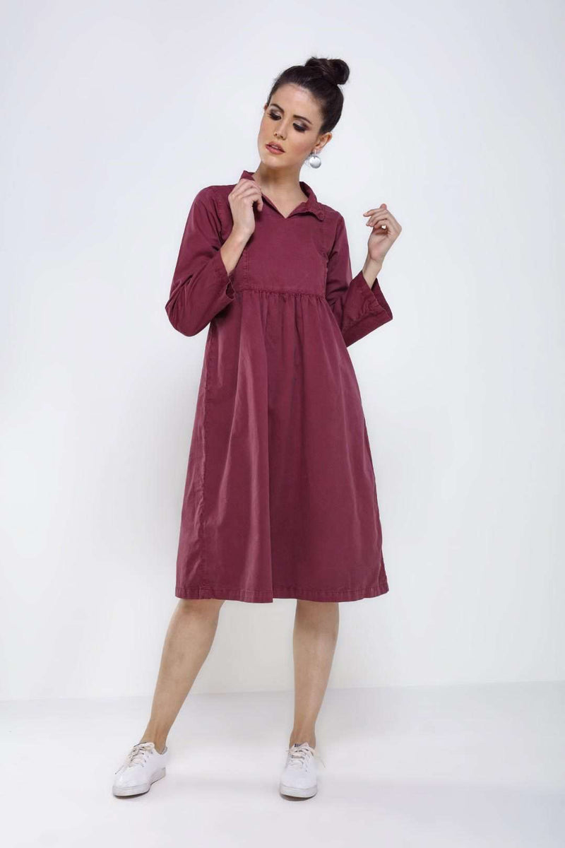 Wine denim flared dress