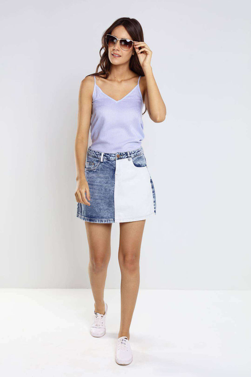 STM Mid blue-white denim paneled skirt