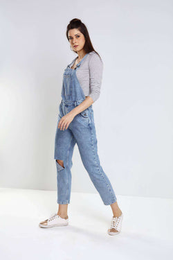 Light blue mom fit denim dungaree