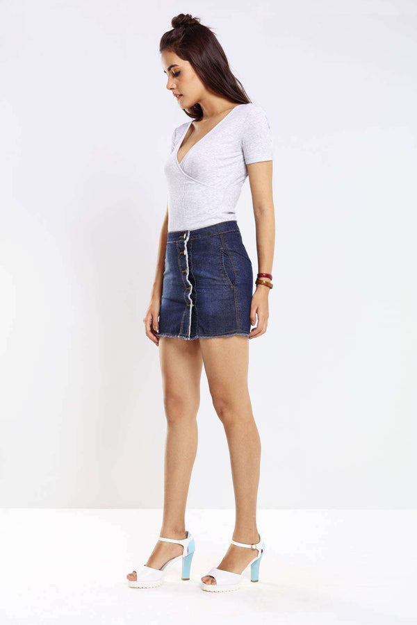 Mid Blue side button detailed distressed short skirt