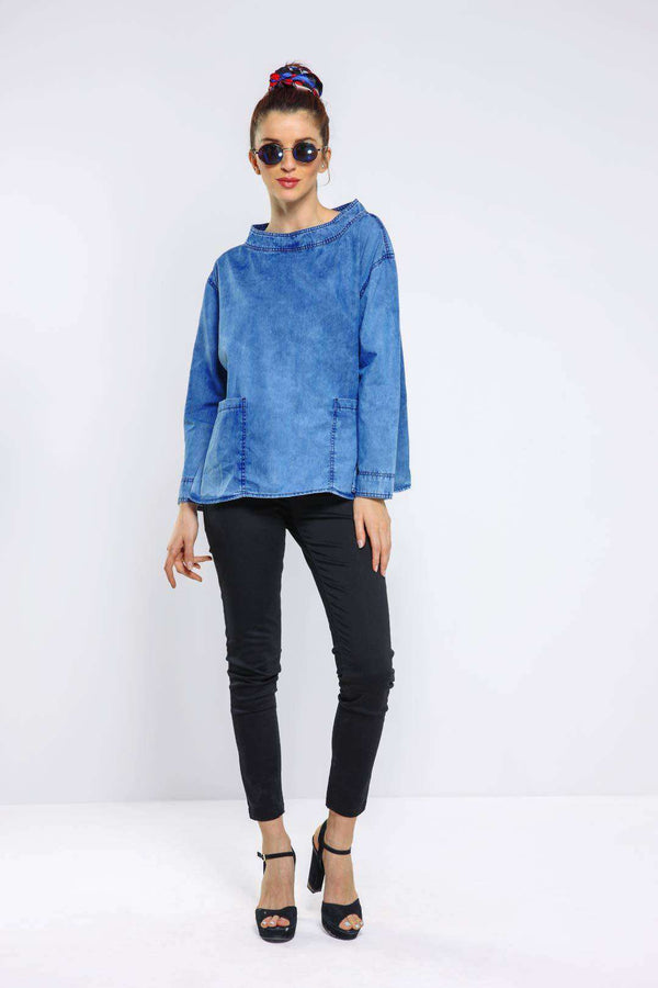 Mid Blue oversized denim top