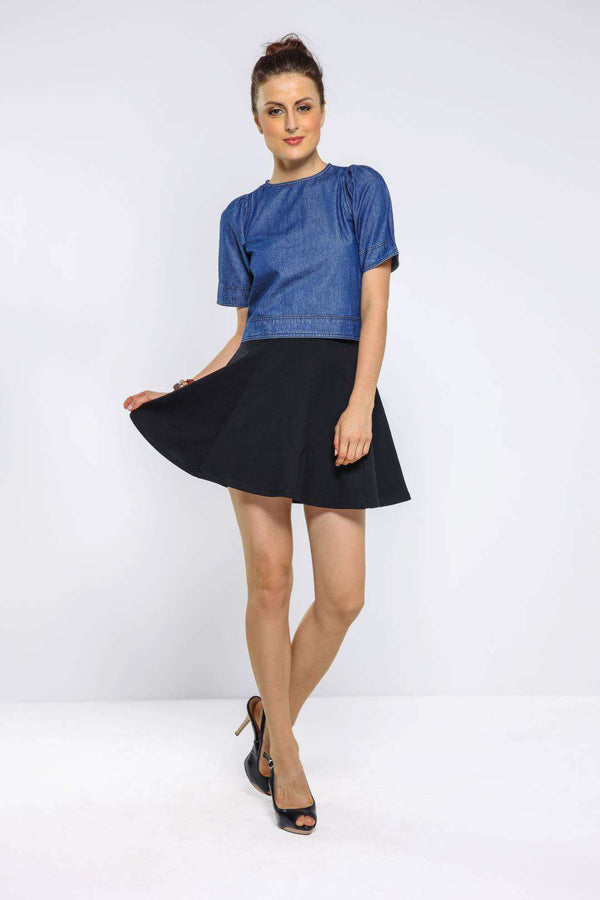 Dark Blue puffed sleeve denim crop top - FREAKINS