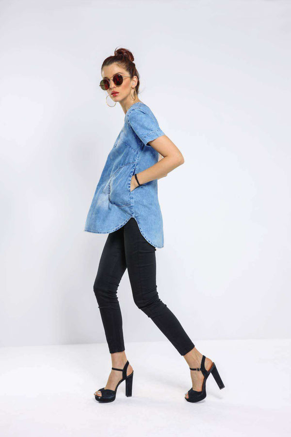 Light Blue denim tunic top - FREAKINS